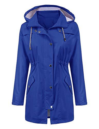 LOMON Raincoat Women Waterproof Long Hooded Trench Coats Lined Windbreaker Travel Jacket Blue M