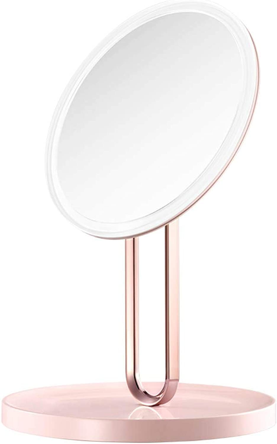 DH JINGZI - Makeup Mirror Makeup Mirror Round Double-Sided redating Dimming Soft Light Led Fill Light USB Interface Dressing Table ABS Plastic, 3 colors (color   Pink, Size   20.5x32.6cm)