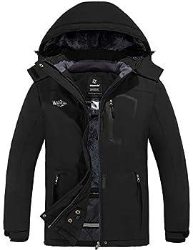 Wantdo Women s Waterproof Snow Jacket Fleece Windproof Ski Coat Black M