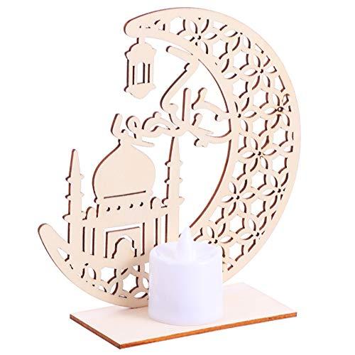 Gadpiparty Lámpara de madera Eid Mubarak con forma de vela, decoración de pared, lámpara de escritorio para musulmanes, islámicos, Ramadán, fiesta, decoración, estilo a