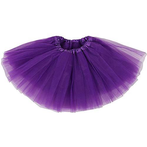 Ruiuzi Mini falda de tutú para mujer, 4 capas, para baile, disfraz, fiesta, Halloween, bailarina rockera morado Talla única