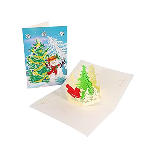 Set per pittura con diamanti natalizi, per decorazioni natalizie fai da te, con campane di Natale, renne, pupazzo di neve e Babbo Natale