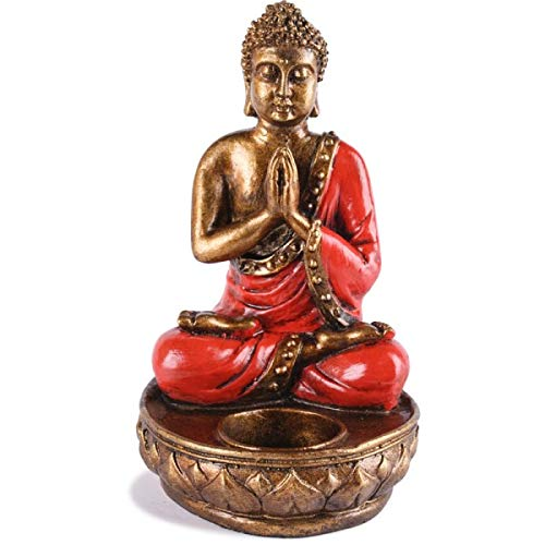 KOH DECO Bougeoir Bouddha en résine - Rouge