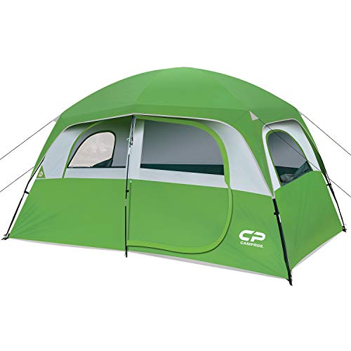 CAMPROS Tent-6-Person-Camping-Tents, Waterproof Windproof Family Tent with Top Rainfly, 4 Large Mesh Windows, Double Layer, Easy Set Up, Portable with Carry Bag, for All Seasons - Green