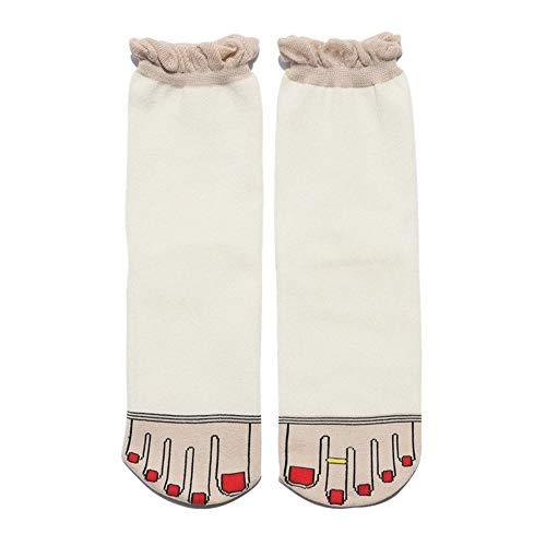 SIKESONG Original Lustige Frauen Socken Vier Jahreszeiten Geeignet Für Lotus Leaf Oberen Roten Nagellack Zehe Ring Mode Neuheit Socken (5 Paar), Weiß