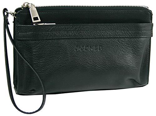 J JONES JENNIFER JONES Hochwertige Herren Handgelenk-Tasche aus italienischem Rind-Leder Farbe Schwarz