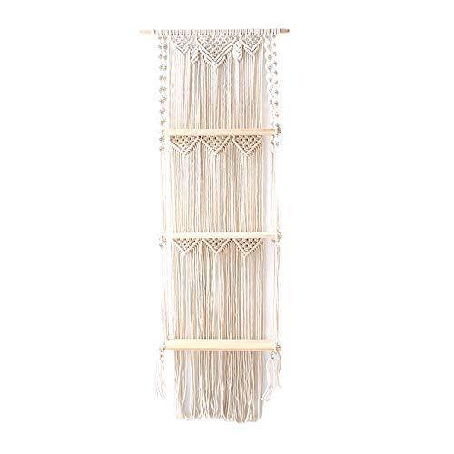 Gojiny Tapiz de borla, 3 niveles macramé para colgar en la pared, estante flotante decoración de pared para apartamentos, hogar, sala de estar