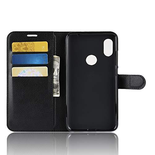 TenYll Hülle für Lenovo Z5s,Wallet Tasche PU Schutzhülle [Premium Leder] [Ultra Slim] [Card Slot] [Ständer] Flip Wallet Hülle Etui für Lenovo Z5s -Schwarz