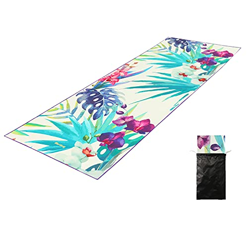 MASDREY Non Slip Hot Yoga Towel Comes with Carrying Bag, 100% Microfiber, Lightweight Compact, Quick Dry, Ultra Absorbent, Sand Free Beach Towel for Hot Yoga, Pilates