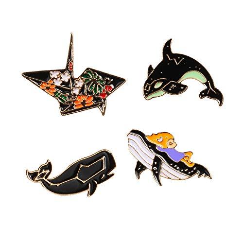 ZSCZQ 4 Estilos de Dibujos Animados mar delfín Ballena pez Origami Animal Broche Creativo Esmalte Pin Mujeres Vestido Solapa Pin Insignias niños joyería Regalos Style3
