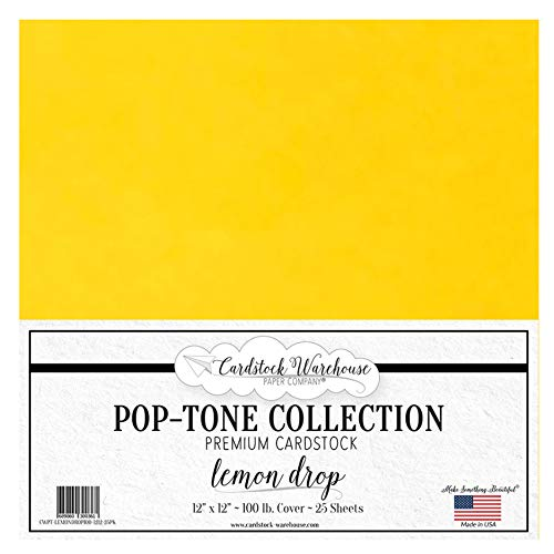 Lemon Drop Yellow Cardstock Paper - 12 X 12 Inch 100 Lb. Heavyweight Cover - 25 Sheets From Cardstock Warehouse