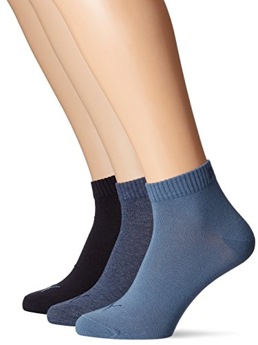 PUMA Plain 3P Quarter Socke, Blau (Denim Blue), 39-42