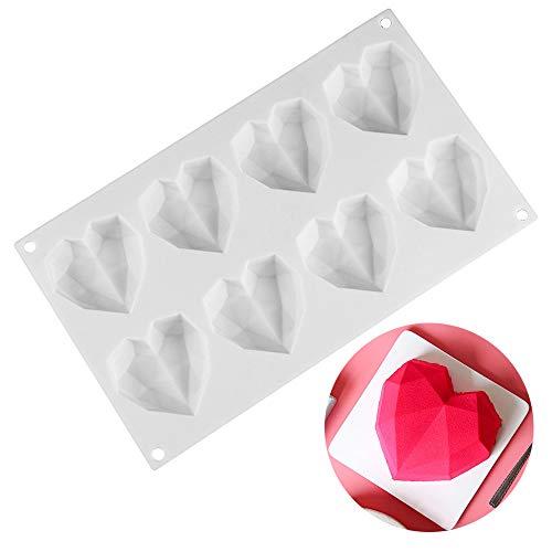 Ziyero 3D Diamante Forma Cuore Silicone Muffa 8 cavità DIY Cioccolato Stampo Durevole Facile Pulire Non tossico, per Natale, Decora Torte, Caramelle, Cioccolato, Cubetti di Ghiaccio ECC—Bianco