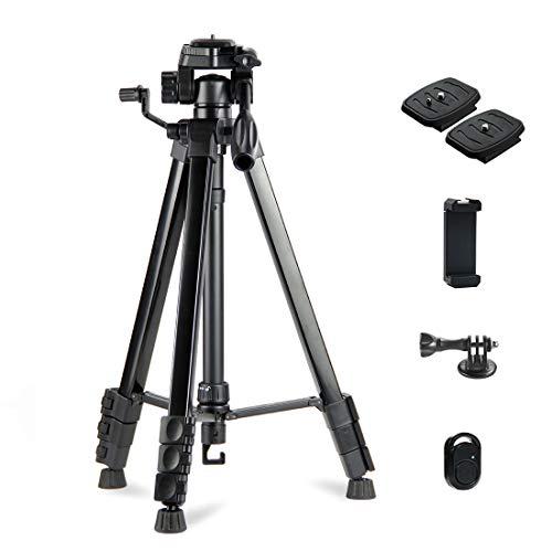 Phinistec 175cm Aluminium Dreibein Stativ Kamera für Handy, iPhone, DSLR, Webcam, Gopro mit Smartphone Halterung und Gopro Adapter mit Tragetasche (Schwarz)