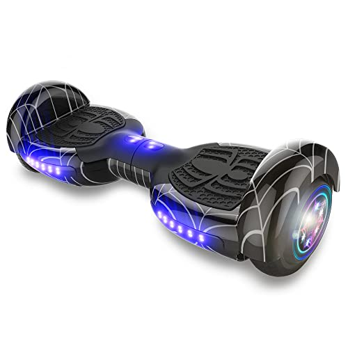"""TPS Power Sports Hoverboard Self Balancing Scooter for Adults and Kids 300W Dual Motor 6.5"""" Wheels Bluetooth Speaker LED Lights Self Balance Hoverboards Great Gift UL2272 Certified (Black)"""