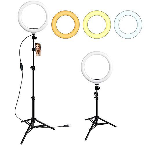 GIM 10 Zoll Ringlicht Ringleuchte mit Stativ, 3 Lichtfarben und 10 Helligkeitsstufen Selfie Licht Handyhalterung Beleuchtung Set für Make-up, Live-Stream, YouTube
