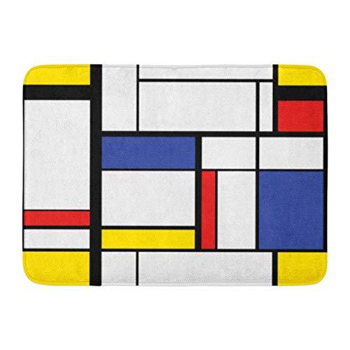 Alfombras de baño Alfombras de baño Alfombrilla para puerta interior / exterior Patrón azul Pintura moderna abstracta en Mondrian Colorido Bauhaus Decoración de baño geométrica Alfombra Alfombra de b