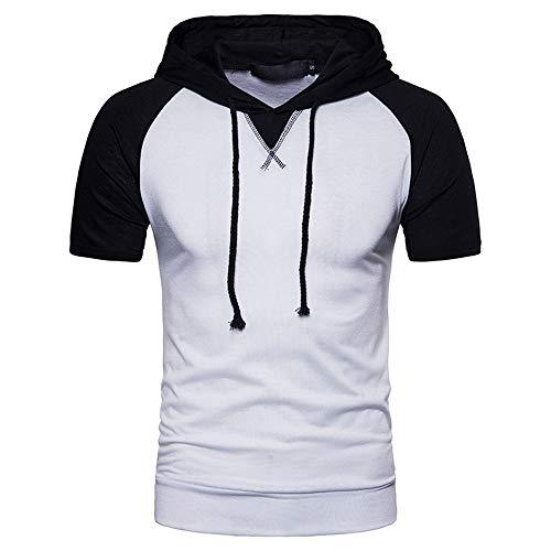 Sudadera con Capucha Hombre Cordones Verano Empalme Hombre T-Shirt Bolsillos Transpirable Moderno De Manga Corta Hombre Shirt Tendencia Elástica Cool Sandy Beach Shirt Ocio Hombre F-White XL