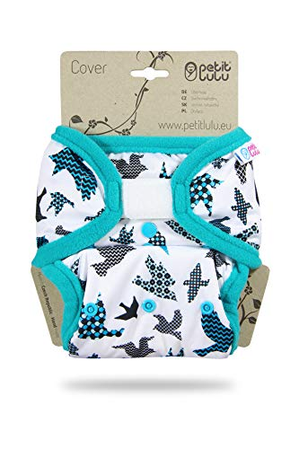 Petit Lulu Größe 2 PUL Überhose (4-15 kg)   Klett   One Size Windelüberhose   Baby Windelhose   Waschbar & Wasserdicht   Stoffwindeln   Hergestellt in EU (Türkisfarbene Vögel)