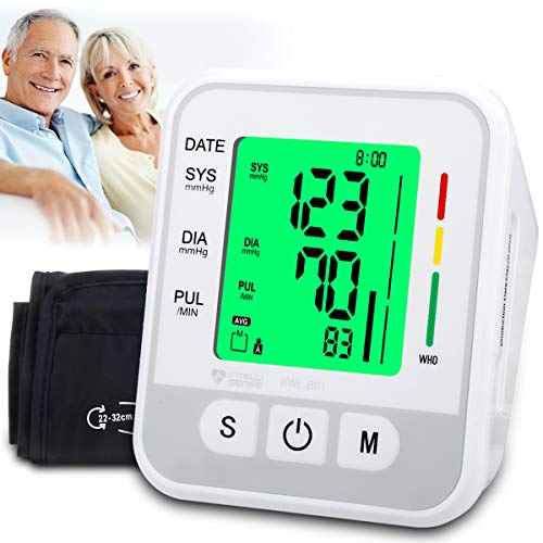 Blood Pressure Monitor Upper Arm, Automatic Digital BP Monitor with Cuff 22-32cm, Large Screen, 2 * 99 Reading Memory, Blood Pressure Machine Pulse...