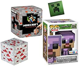 Goodbye Monsters! Enchanted Armored Steve Exclusive Minecraft Figure #324 Game Character Bundled with + Mini Light-Up Redstone Box Series + Bonus Foil Sticker