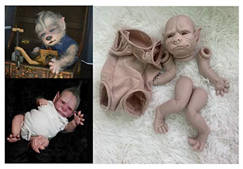 Angelbaby 19inch Reborn Baby Doll Kits Unpainted Silicone Doll Kit with Cloth Handmade Mold Sets DIY Realistic Werewolf Toys (Kit Robbie)