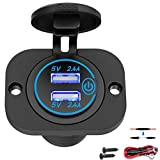 USB Socket 12V Outlet with Touch Switch, Dual 4.8A USB Car Charger Power Outlet Waterproof Marine Cigarette Lighter Adapter 5V 24W Fast Charge with Blue LED for Boat Motorcycle ATV RV Truck