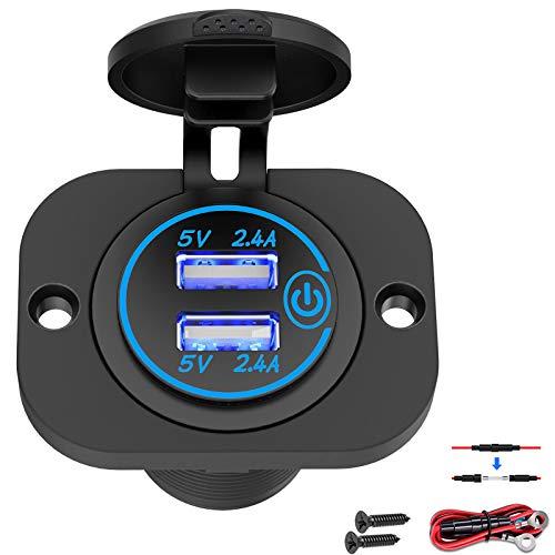 Presa USB Presa 12V con interruttore tattile, doppia presa USB 4,8A per caricabatteria da auto Adattatore per accendisigari marino impermeabile 5V 24W Ricarica rapida con LED blu per camion, camper