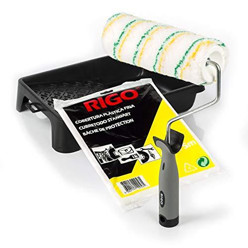 RIGO Rodillo Pintura Antigoteo Lavable y Reutilizable de 18cm con Bandeja y Cubretodo de 20m2 Calidad Profesional - Perfecto para Paredes y Techos