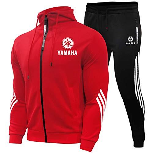 Woakzhe Herren Trainingsanzug Sets, Sportbekleidung Männer, Ya.m-a.ha Bedruckter Jogging Anzug, Klassischer Basketball Kapuzenjacke Hose (Red,M)