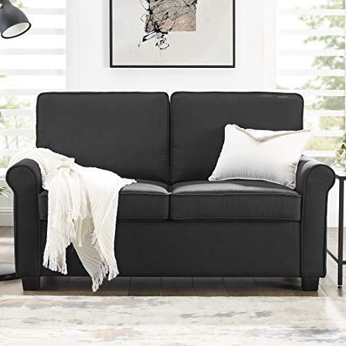 Mainstay Sofa Sleeper with Memory Foam Mattress | No-Tool Easy Assembly, Black (Black)
