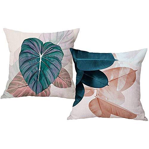 Ducan Lincoln Pillow Case 4 Stück 18X18 Zoll Grünpflanzen Kissenbezüge Natur Blätter Dekorative Kissenbezüge Für Couchsofa,