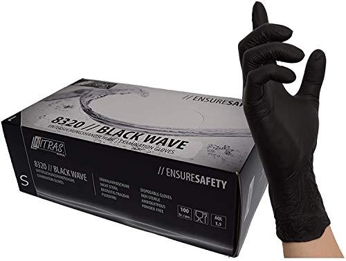 NITRAS Medical 8320 Black Wave Nitril-Einmalhandschuhe, Schwarz, 200 Stück (Nitrilhandschuh, S)