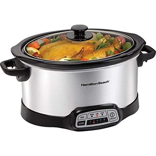 Hamilton-Beach 33463 6 Quart Slow Cooker, Black & Stainless steel, 33463, 6-9 Quarts