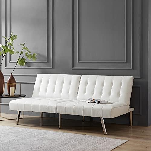 Naomi Home Tufted Split Back Futon Sofa Faux Leather/White
