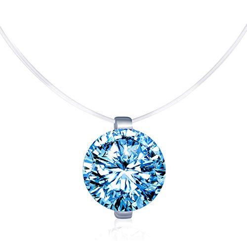 Infinite U - elegante collana girocollo da donna con uno zircone solitario e filo di nylon trasparente e Argento 925/1000, colore: blu, cod. N5029-blue