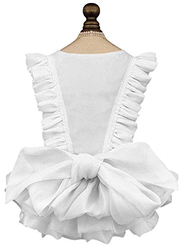 Puppy Face Dog Dress for Medium Dogs Puppy Clothes Girl Dog Princess Skirt Outfits Cat Lace Apparel (XXLarge, White)