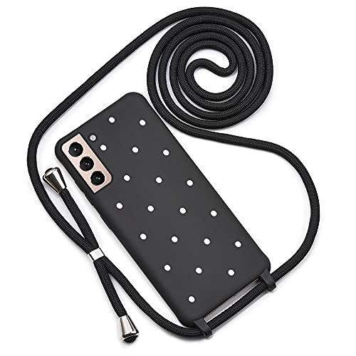 QULT Handykette kompatibel mit Samsung Galaxy S21 Plus 5G Hülle mit Band Silikon Handyhülle mit Kette zum Umhängen Necklace Kordel Bumper Hülle mit Motiv Punkte Schwarz