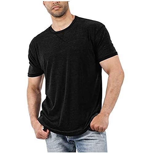 Camiseta básica para hombre de un solo color, corte suelto, camiseta de verano con cuello redondo de algodón, manga corta, camiseta larga, informal, suave Negro XL