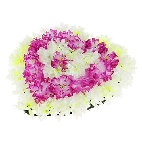 Chrysantheme Kranz Grabblumen Grabschmuck Dekoration für Totensonntag Allerheiligen und Trauerfeier, Herzform Design - 2