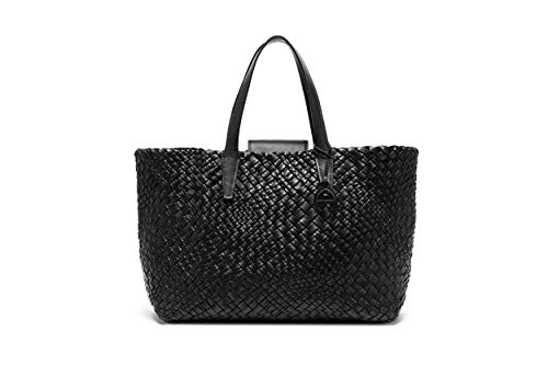 Etienne Aigner Woven Leather Tote In Black