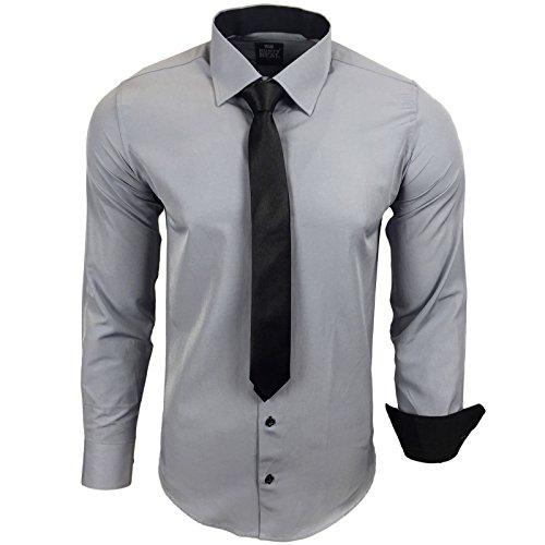 Rusty Neal Herren Kontrast Hemd Business Hochzeit mit Krawatte S bis 6XL, Farbe:Grau, Größe:3XL