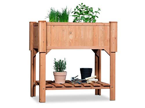 Coemo Hochbeet Holz 90 x 40 x 90 cm mit Ablageboden Frühbeet Pflanztrog Bausatz für Gemüse, Kräuter in Garten, Terrasse und Balkon