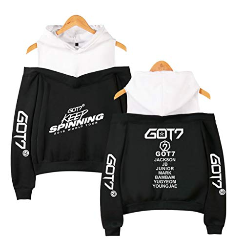 GOT7 World Tour Casual Dew Shoulder Sudaderas con Capucha Hoodies Off Shoulder Sudaderas de Manga Larga Jackson JB Bambam Mark