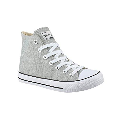 Elara Unisex Sneaker Bequeme Sportschuhe für Damen und Herren High Top Turnschuh Textil Schuhe 014-A LT.Grey 40