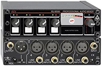 RDL RU-MX4LT Mixer 4 Channel, Output Isolation Transformer, Mic or Line XLR Output, Switchable - Power Supply Included