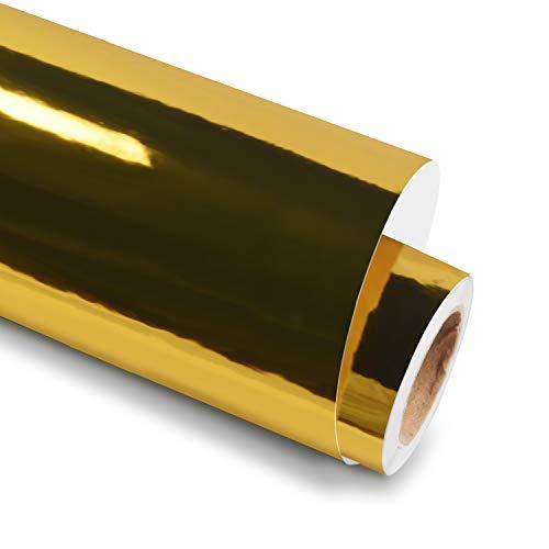 Holographic Chrome Mirror Metallic Gold Adhesive Craft Vinyl 12 Inch X 6 Feet Roll, Metallic Gold