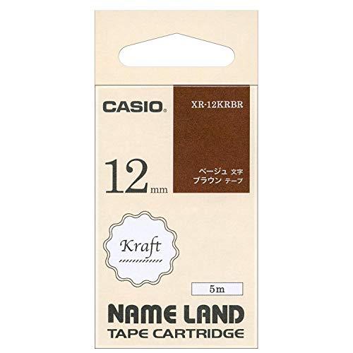 カシオ ラベルライター ネームランド クラフトテープ 12mm XR-12KRBR ブラウンにベージュ文字