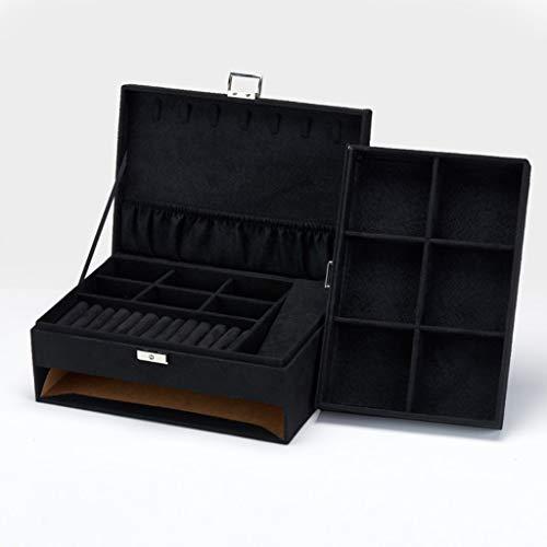 WNDRZ Organizador De Exhibición De Broche De Reloj De Caja De Almacenamiento De Joyería De Estilo Retro De Terciopelo De Madera (Color : Black)