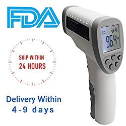 SOMUNS Forehead Thermometer for Adult,Infrared Non-Contact Thermometer Digital Medical FCC CE Approved with 32 Memory Function LCD Display for Body Baby(Grey)